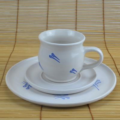 Kaffeegedeck, weiß-blau