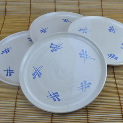 Kuchenteller, weiß-blau