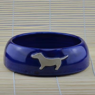 Fressnapf königsblau, mit Hund