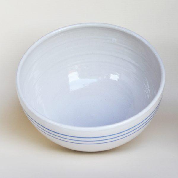 Schüssel, Ø 21,5 cm, weiß mit blauen Streifen