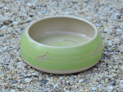 Fressnapf , Ø 14,4 cm, grün mit Knochendekor