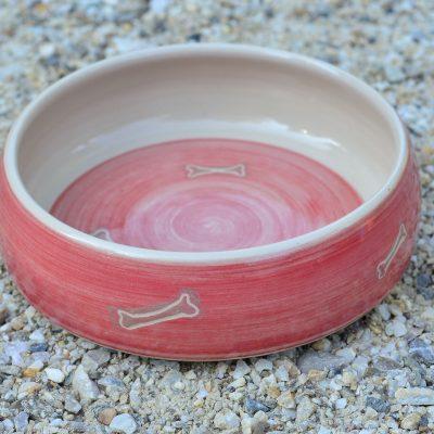 Fressnapf , Ø 17 cm, rot mit Knochendekor