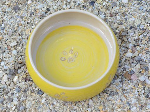 Fressnapf , Ø 16,5 cm, gelb mit Tatzendekor