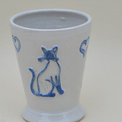 "Kaffeehaferl ""Katze1"", weiß-blau"