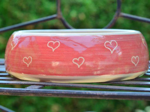 Hundenapf, Ø 16,5cm, rot mit kleinen Herzerl